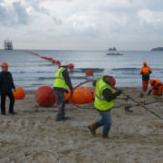 KM3NeT-Fr: Laying the MEOC toward the powerhut at the beach