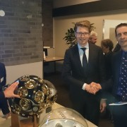 Robert Jan Smits, (DG-RTD), Sander Dekker (minister research NL) and Maarten de Jong (KM3NeT)